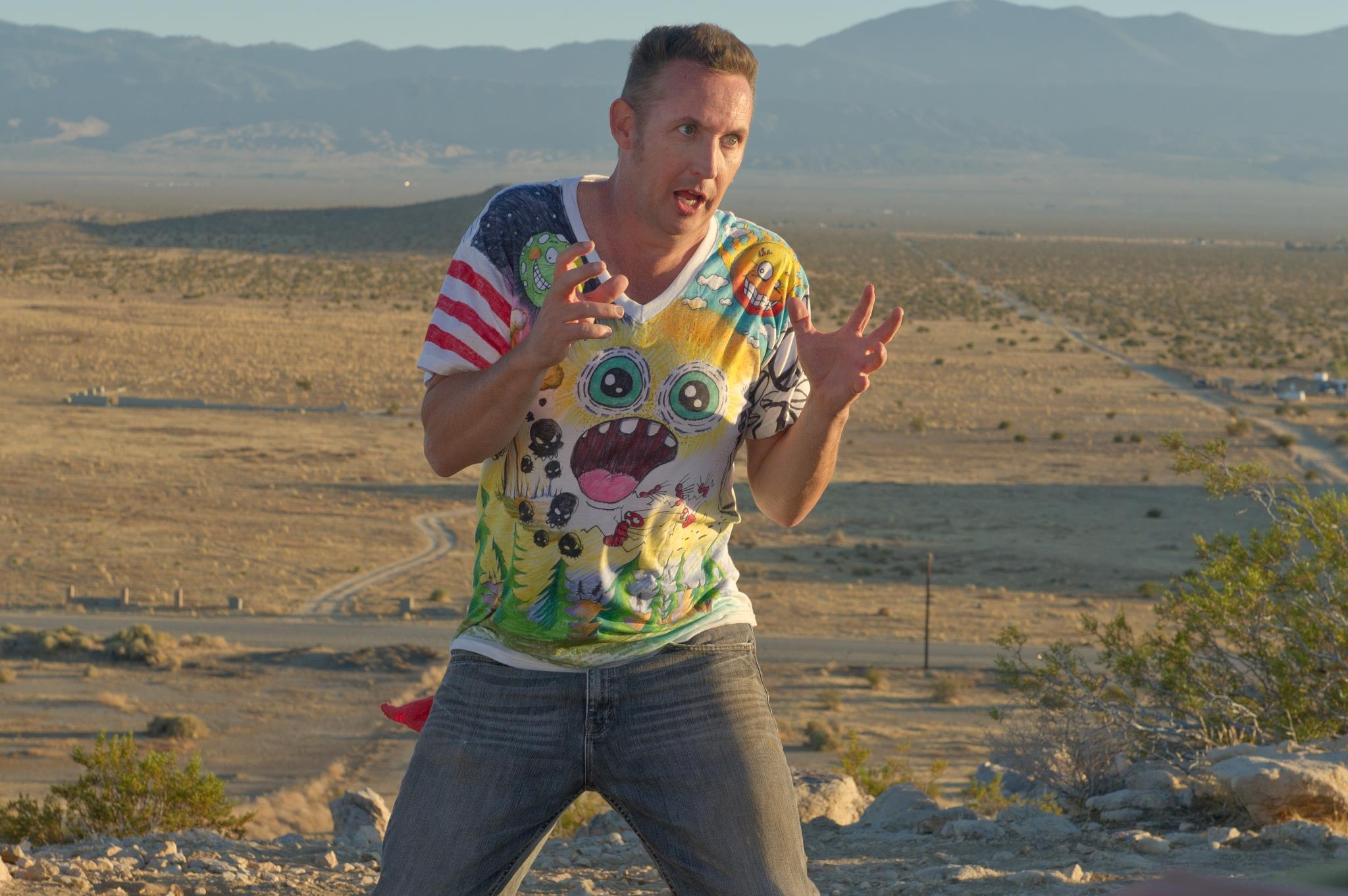 """Harland Williams filming his latest Stand Up special """"Force of Nature""""...in the desert....by himself."""